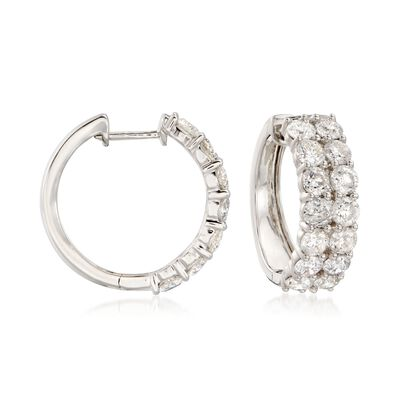 5.00 ct. t.w. Diamond Hoop Earrings in 14kt White Gold