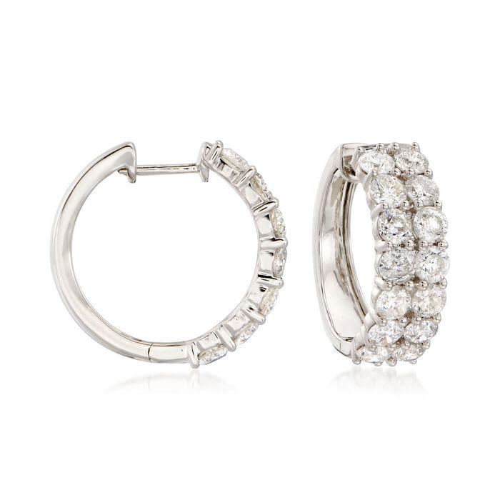"""5.00 ct. t.w. Diamond Hoop Earrings in 14kt White Gold. 3/4"""", , default"""