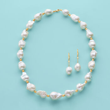 12-15mm Cultured Baroque Pearl Necklace with 14kt Yellow Gold, , default