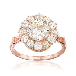 C. 1930 Vintage 2.63 ct. t.w. Diamond Cluster Ring in 14kt Rose Gold, , default