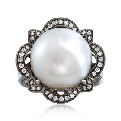 14-14.5mm Cultured South Sea Pearl and .53 ct. t.w. Diamond Floral Ring in 14kt White Gold, , default