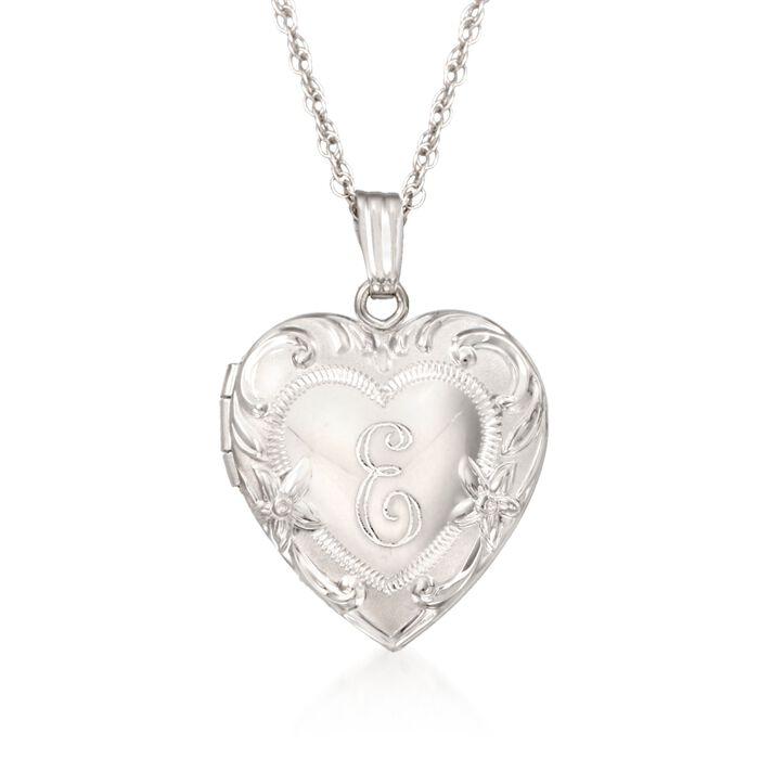 "Sterling Silver Engraved Heart Locket Necklace. 18"", , default"