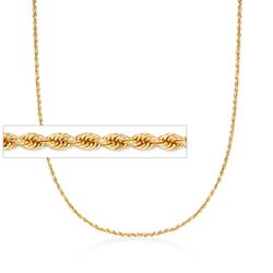 2mm 14kt Yellow Gold Rope Chain Necklace, , default