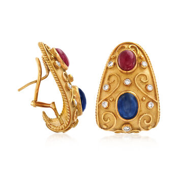 C. 1980 Vintage 5.20 ct. t.w. Sapphire and 2.70 ct. t.w. Ruby Earrings with Diamonds in 18kt Yellow Gold