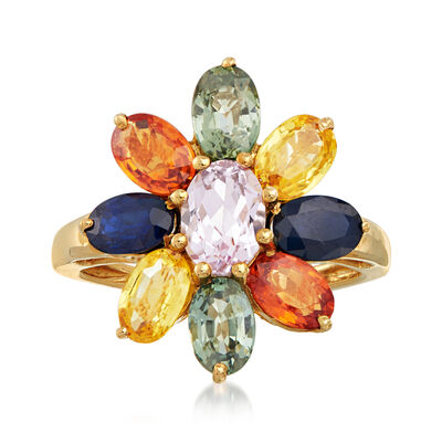 C. 1990 Vintage 5.70 ct. t.w. Multicolored Sapphire Flower Ring in 14kt Yellow Gold, , default