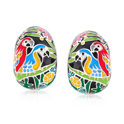 "Belle Etoile ""Macaw"" Multicolored Enamel J-Hoop Earrings with CZ Accents in Sterling Silver, , default"