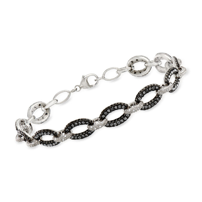 1.00 ct. t.w. Black and White Diamond Link Bracelet in Sterling Silver