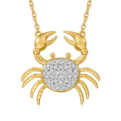 .25 ct. t.w. Diamond Crab Necklace in 18kt Gold Over Sterling