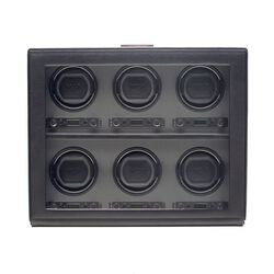 """Viceroy"" Black Faux Leather Six-Module Watch Winder by Wolf Designs, , default"