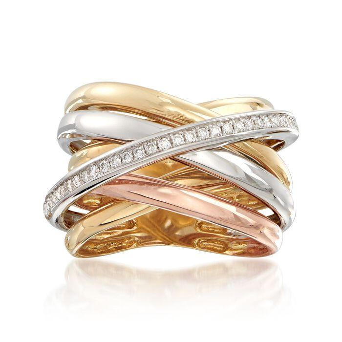 .22 ct. t.w. Diamond Multi-Row Sash Ring in 14kt Tri-Colored Gold. Size 5