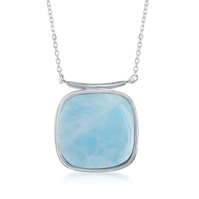 Square Larimar Necklace in Sterling Silver