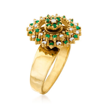 C. 1970 Vintage .40 ct. t.w. Emerald and .35 ct. t.w. Diamond Spin Ring in 18kt Yellow Gold. Size 7, , default