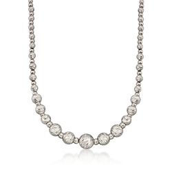 Italian Sterling Silver Diamond-Cut Bead Necklace, , default
