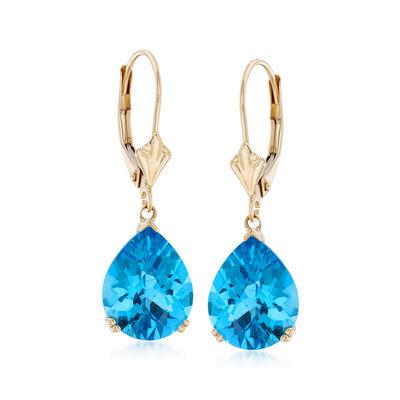 5.50 ct. t.w. Blue Topaz Earrings in 14kt Yellow Gold, , default