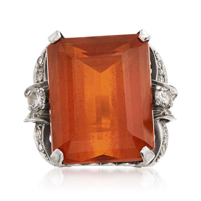 C. 1950 Vintage 26.90 Carat Citrine and .90 ct. t.w. Diamond Ring in Platinum. Size 6.5, , default