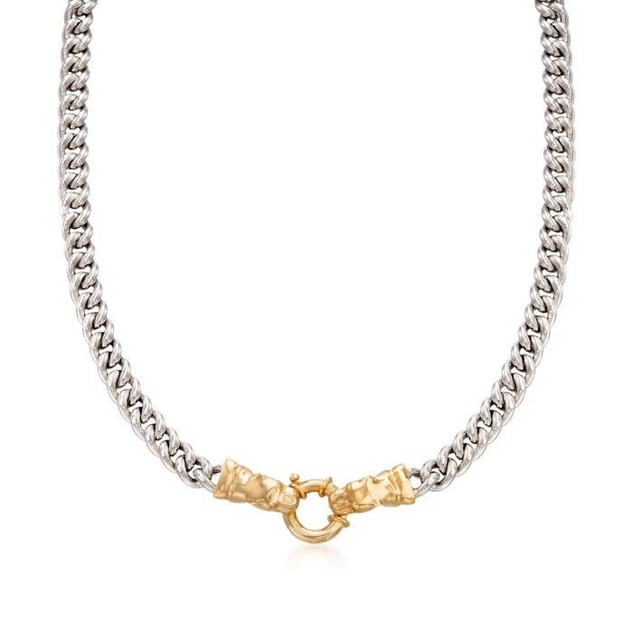 """Italian Sterling Silver and 18kt Gold Over Sterling Double Panther Head Necklace. 18"""", , default"""