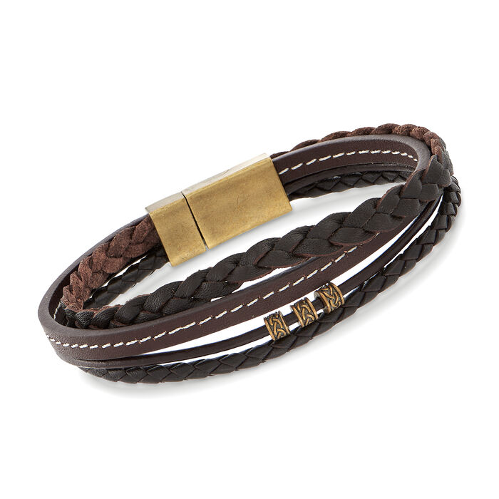 """Men's Multi-Strand Brown Leather Bracelet with Magnetic Clasp. 8.25"""", , default"""