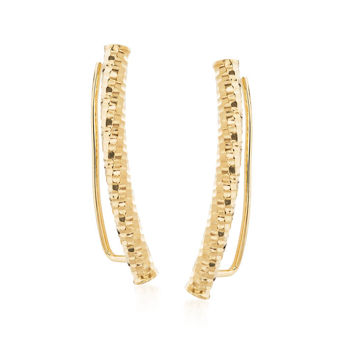 Italian Textured and Polished 14kt Yellow Gold Ear Climbers, , default