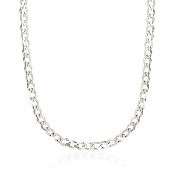 "4.9mm 14kt White Gold Curb-Link Chain Necklace. 18"", , default"