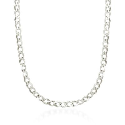 4.9mm 14kt White Gold Curb-Link Chain Necklace, , default