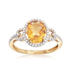 1.70 Carat Citrine and .17 ct. t.w. Diamond Ring in 14kt Yellow Gold, , default