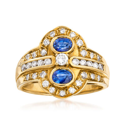 C. 1980 Vintage .50 ct. t.w. Sapphire and .50 ct. t.w. Diamond Ring in 18kt Yellow Gold