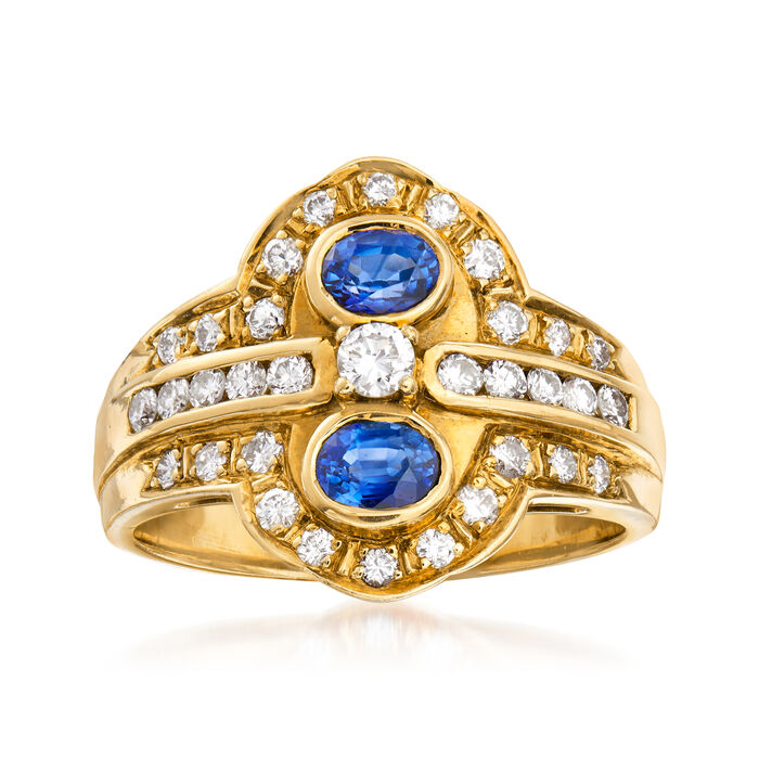 C. 1980 Vintage .50 ct. t.w. Sapphire and .50 ct. t.w. Diamond Ring in 18kt Yellow Gold. Size 6