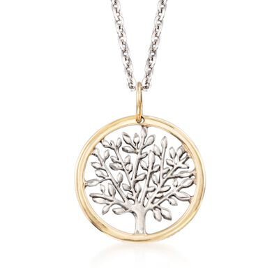 Sterling Silver and 14kt Yellow Gold Tree of Life Pendant Necklace, , default