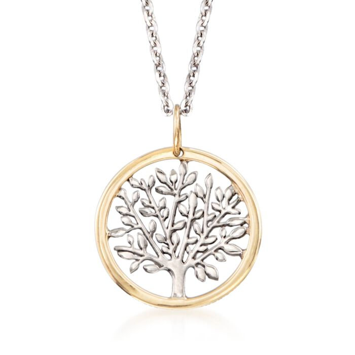 "Sterling Silver and 14kt Yellow Gold Tree of Life Pendant Necklace. 18"", , default"