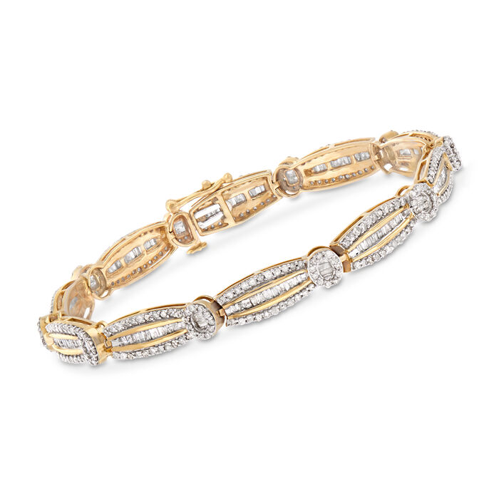 3.00 ct. t.w. Baguette and Round Diamond Bracelet in 14kt Yellow Gold, , default