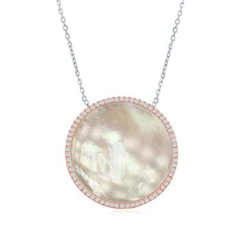 """Mother-Of-Pearl and .50 ct. t.w. CZ Circle Necklace in Two-Tone Sterling Silver. 16"""", , default"""
