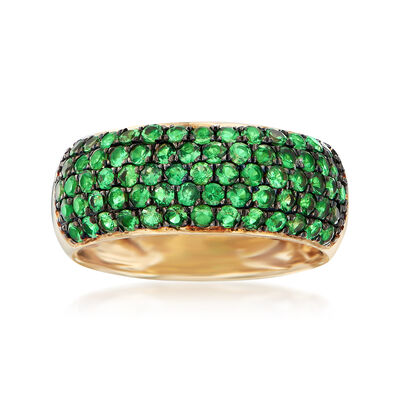 1.40 ct. t.w. Tsavorite Multi-Row Ring in 14kt Yellow Gold, , default