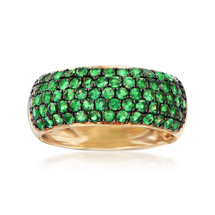 1.40 ct. t.w. Tsavorite Multi-Row Ring in 14kt Yellow Gold. Size 6.5, , default