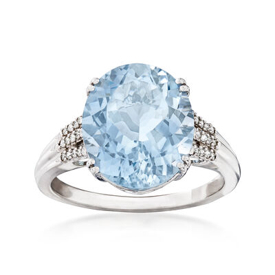 5.25 Carat Aquamarine with Diamond Accents in 14kt White Gold, , default