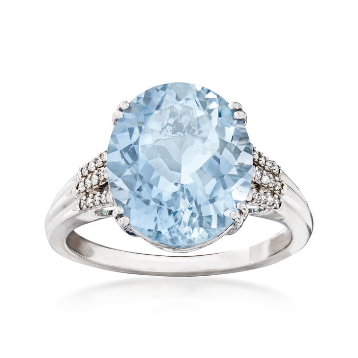 5.25 Carat Aquamarine with Diamond Accents in 14kt White Gold