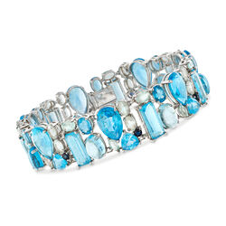 C. 1990 Vintage 97.95 ct. t.w. Blue Topaz and Sapphire Bracelet in 14kt White Gold, , default