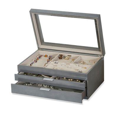 """Mele & Co. """"Misty"""" Oceanside Gray Wooden Jewelry Box, , default"""