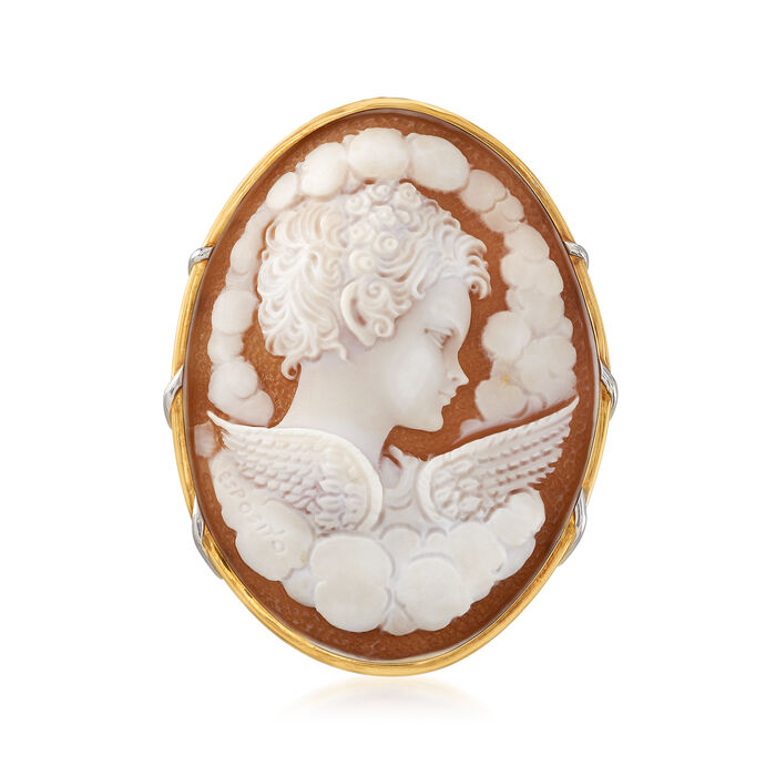 C. 1997 Vintage Pink Shell Cameo Pin Pendant in Platinum and 18kt Yellow Gold