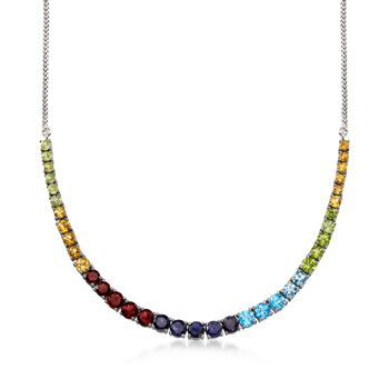 13.80 ct. t.w. Graduated Multi-Stone Necklace in Sterling Silver, , default