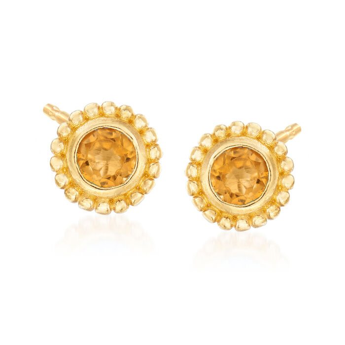 "Phillip Gavriel ""Popcorn"" .20 ct. t.w. Citrine Stud Earrings in 14kt Yellow Gold"