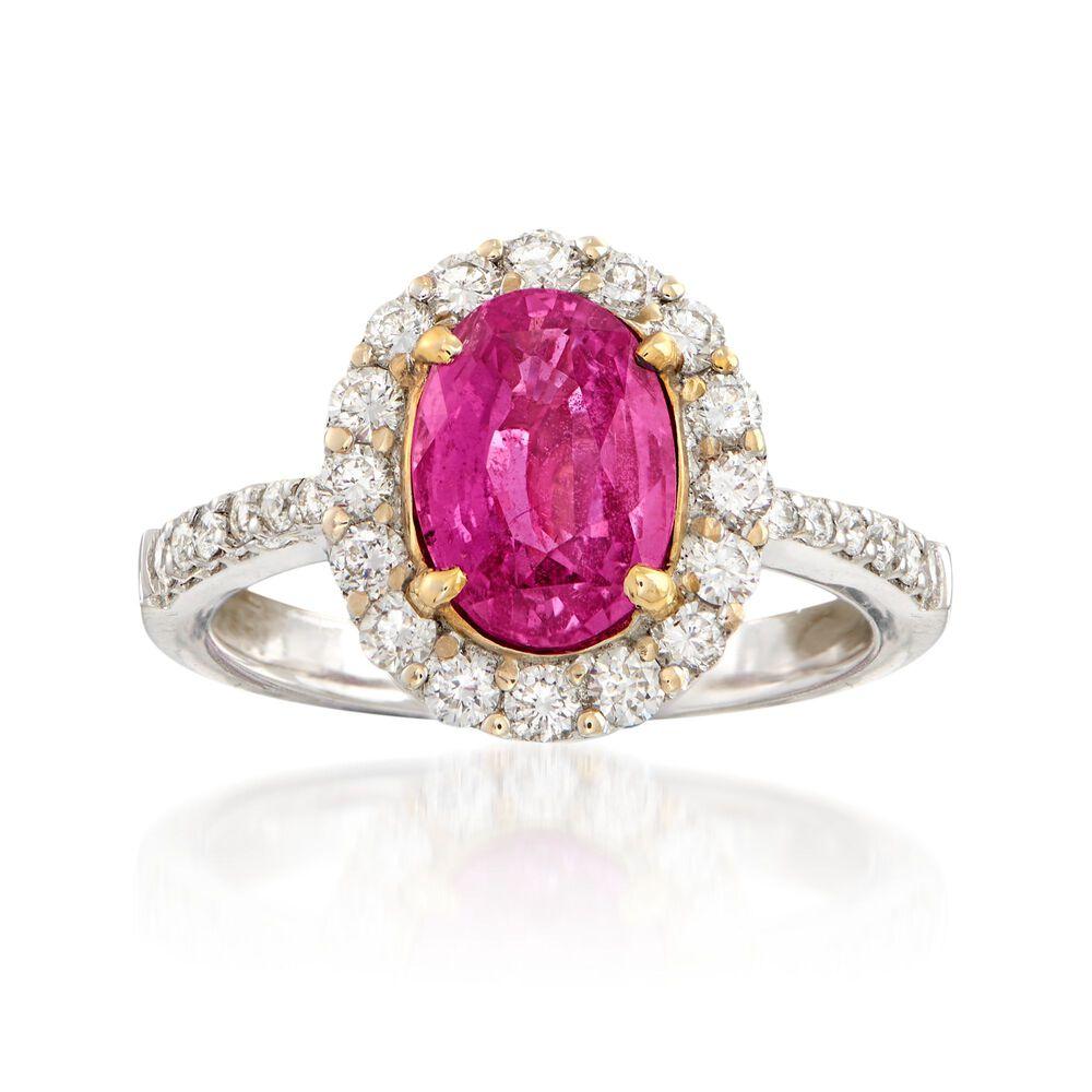 C. 2000 Vintage 2.47 Carat Pink Sapphire and .85 ct. t.w. Diamond ...