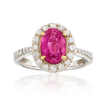 C. 2000 Vintage 2.47 Carat Pink Sapphire and .85 ct. t.w. Diamond Ring in 18kt White Gold. Size 6.75, , default