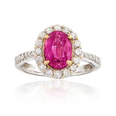 C. 2000 Vintage 2.47 Carat Pink Sapphire and .85 ct. t.w. Diamond Ring in 18kt White Gold, , default