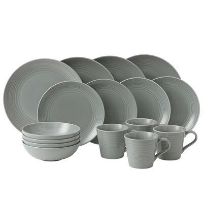 "Gordon Ramsay for Royal Daulton ""Maze"" 16-pc. Dark Gray Dinnerware Set"