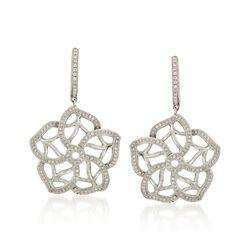 .80 ct. t.w. Diamond Floral Drop Earrings in 18kt White Gold, , default