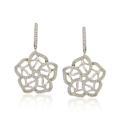 .80 ct. t.w. Diamond Floral Drop Earrings in 18kt White Gold, , default