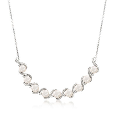 6mm Cultured Pearl and .50 ct. t.w. Diamond Necklace in Sterling Silver