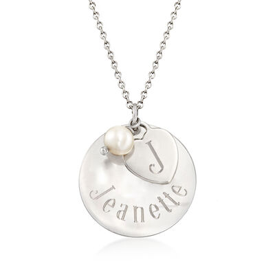Italian Sterling Silver Personalized Charm Necklace with 6mm Cultured Pearl, , default