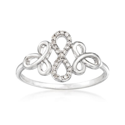 .10 ct. t.w. Diamond Infinity Ring in 14kt White Gold, , default
