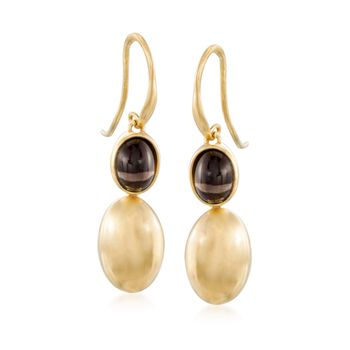 Italian 2.60 ct. t.w. Smoky Quartz Drop Earrings in 14kt Gold Over Sterling, , default